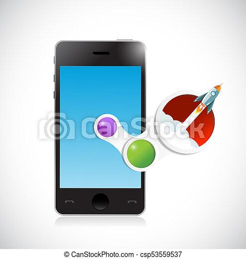 mobile and rocket moving up. illustration design - csp53559537