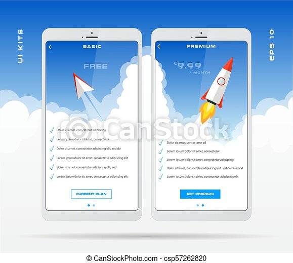 mobile app design template for price list set tariff plan pricing