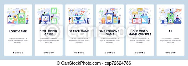Mobile app onboarding screens. Different types of games. Video, console, logic, educational games. Vector banner template for website and mobile development. Web site design flat illustration - csp72624786