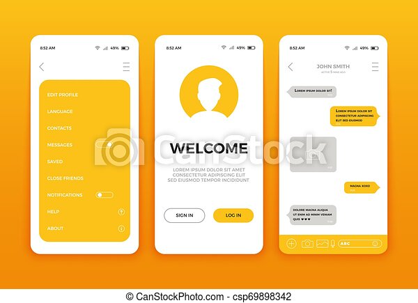 Mobile App User Interface Screen Design Vector Set Of Modern Ui Ux Gui Screens And Web Icons Mobile Ui Kit With Welcome