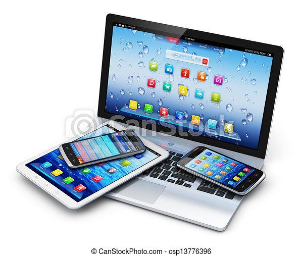 Complètement et à l'extrême Mobile, appareils. Tout, propre, bureau, communication, ordinateur #RN_47