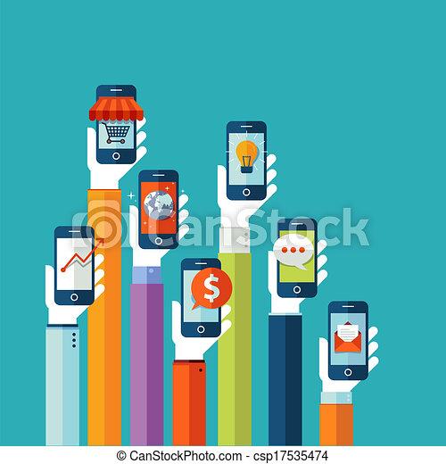 mobile, appartamento, disegno, concetto, apps - csp17535474