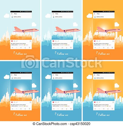 Mobile application and plane flying over the city. - csp43150020