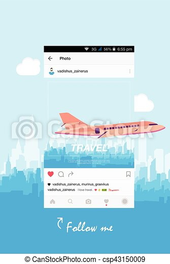 Mobile application and plane flying over the city. - csp43150009