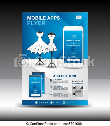 Mobile apps flyer template for boutique shop business brochure mobile apps flyer template for boutique shop business brochure flyer design layout smartphone icons maxwellsz