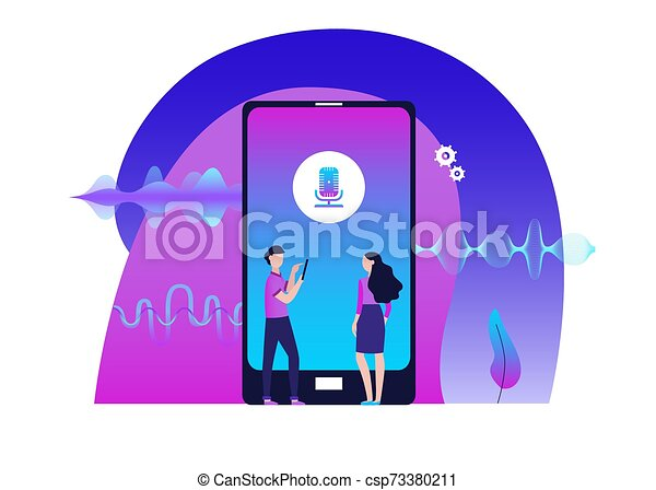 Mobile audio editor with people and amplitude waves flat vector illustration. - csp73380211