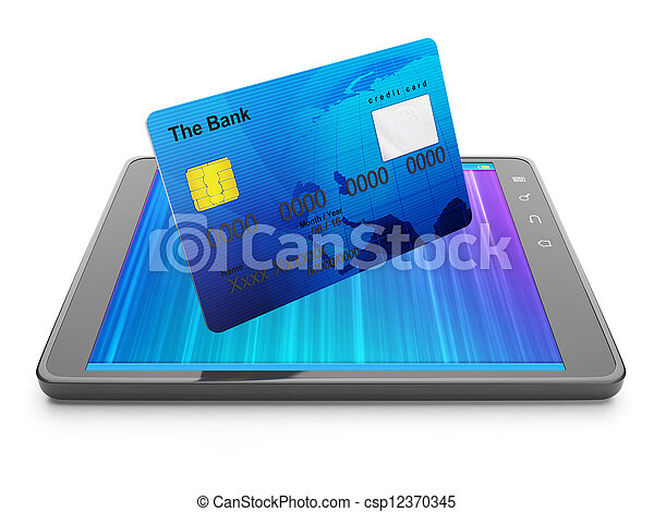 Mobile Banking. Credit card and tablet - csp12370345
