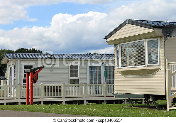 Mobile caravans or trailers in modern holiday park - csp10406554