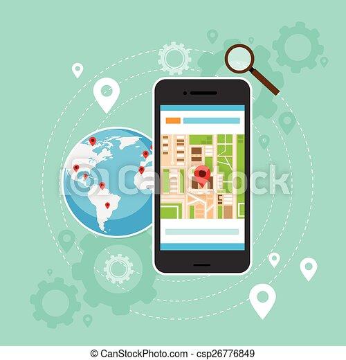 Mobile Cell Phone World Map Gps Globe Navigation