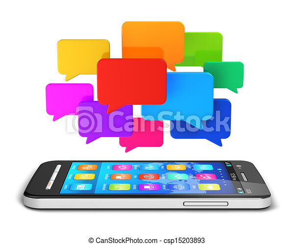 Mobile communication and social media concept - csp15203893
