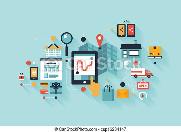 mobile, concetto, shopping, illustrazione - csp16234147