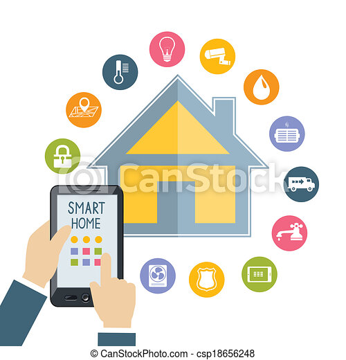 mobile, controlli, mano, telefono, presa a terra, casa, far male - csp18656248
