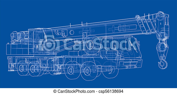Mobile crane blueprint 3d illustration wire frame style mobile crane blueprint csp56138694 malvernweather Choice Image