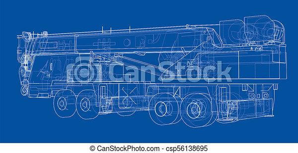 Mobile crane blueprint 3d illustration wire frame style mobile crane blueprint csp56138695 malvernweather Choice Image