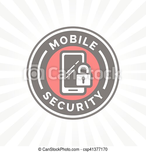 Mobile Device Security Icon With Padlock And Smartphone Symbol Badge