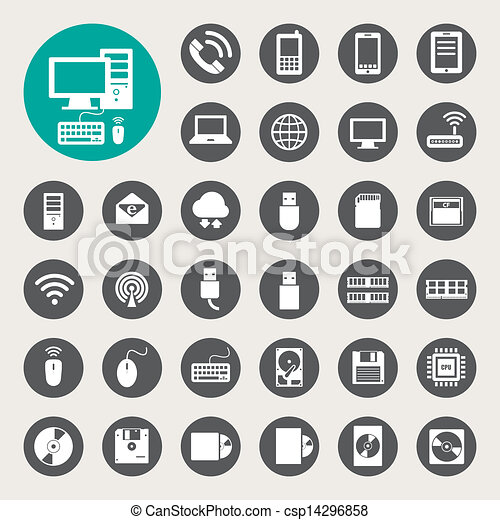 Mobile devices , computer and network connections icons set. - csp14296858
