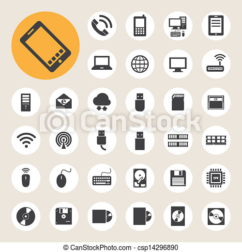 Mobile devices , computer and network connections icons set. - csp14296890
