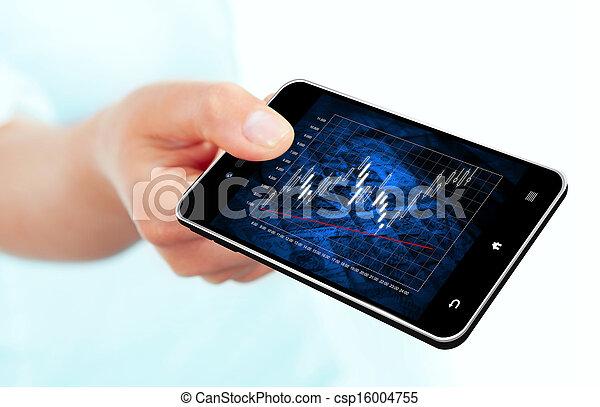 mobile, diagramme, main, téléphone, tenue, marché, stockage - csp16004755