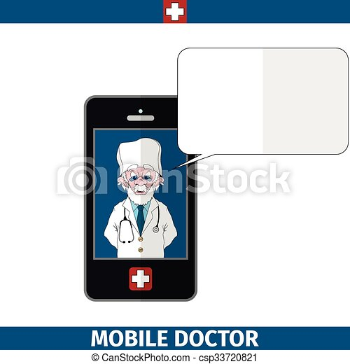 Mobile doctor with empty dialog cloud