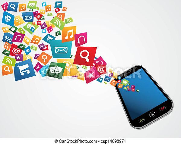 mobile, domande, computer - csp14698971