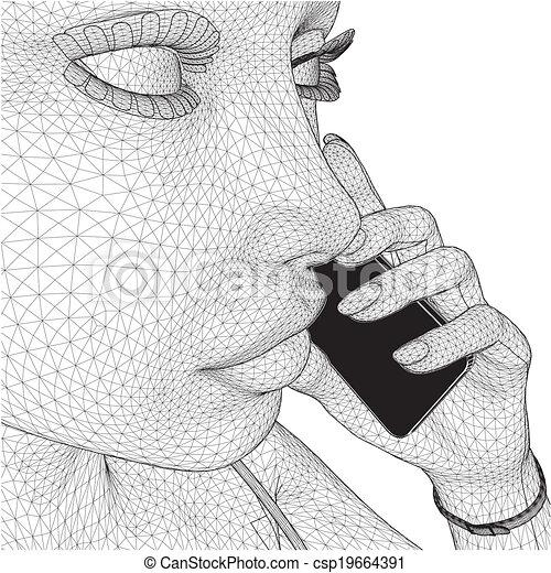 mobile, donna, giovane, presa a terra, rete - csp19664391
