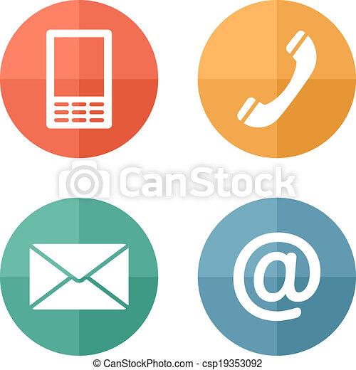mobile, ensemble, icônes, enveloppe, -, boutons, contact, téléphone, courrier - csp19353092