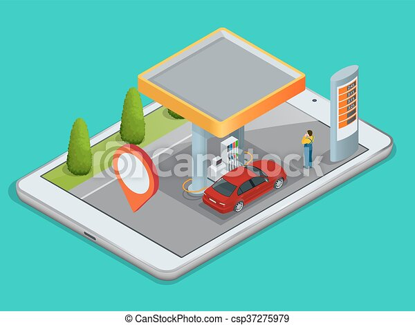 Mobile GPS navigation, gas station concept. View a map on the mobile phone on car and search GPS coordinates. Flat 3d vector isometric illustration. - csp37275979