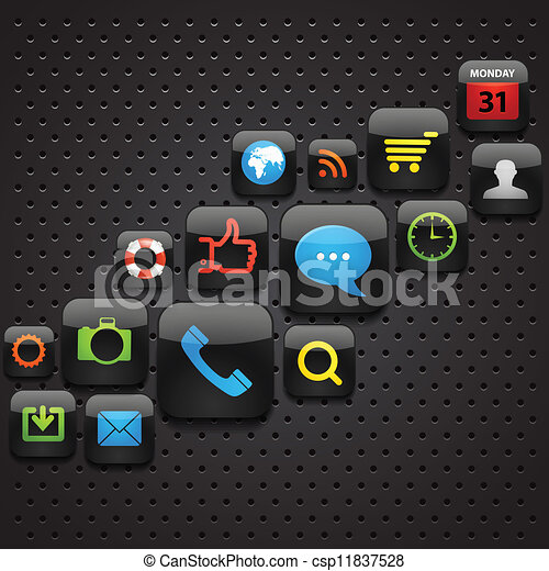 Mobile interface icons abstract background - csp11837528