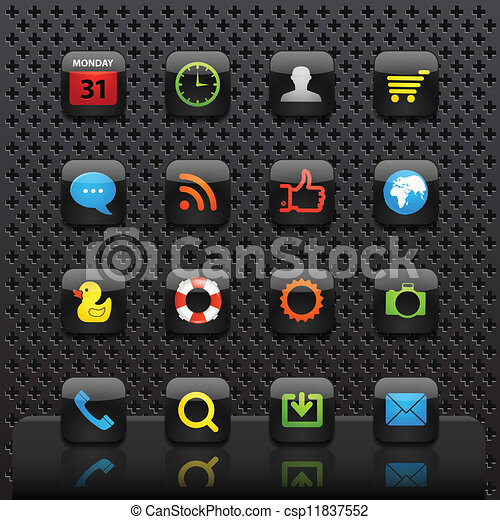 Mobile interface with color icons template - csp11837552