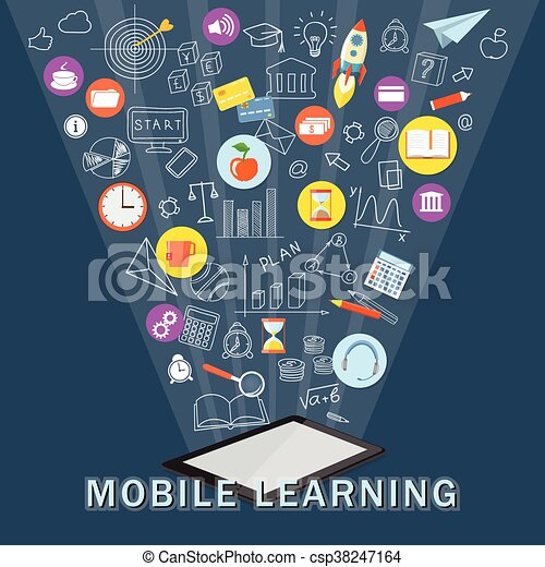 mobile learning with tablet - csp38247164