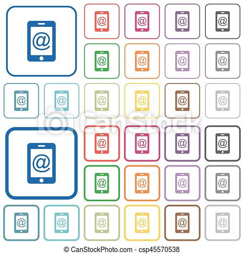 Mobile mailing outlined flat color icons - csp45570538