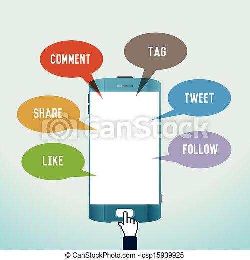 mobile, media, sociale - csp15939925