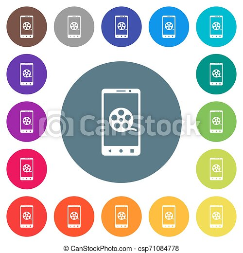 Mobile movie flat white icons on round color backgrounds - csp71084778