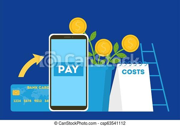 Mobile payment concept. Money transaction on digital device - csp63541112