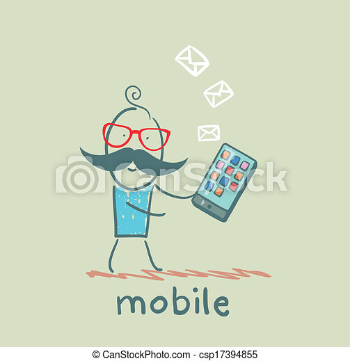 mobile, personne, message, reçoit - csp17394855