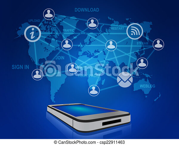 Mobile phone and icons people teamwork on world map mobile stock mobile phone and icons people teamwork on world map csp22911463 publicscrutiny Choice Image
