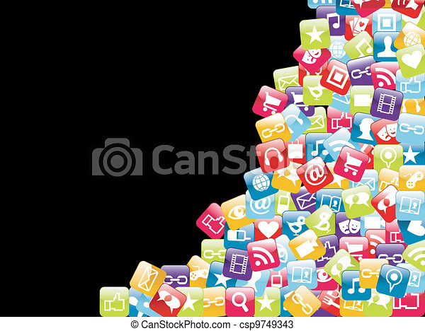 Mobile phone app icons background - csp9749343
