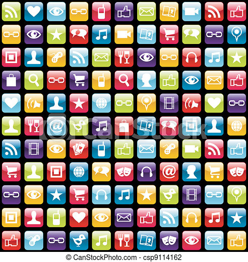 Mobile phone app icons pattern background - csp9114162
