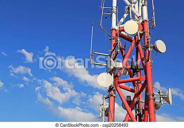 Mobile phone base station with background of blue sky - csp20258493