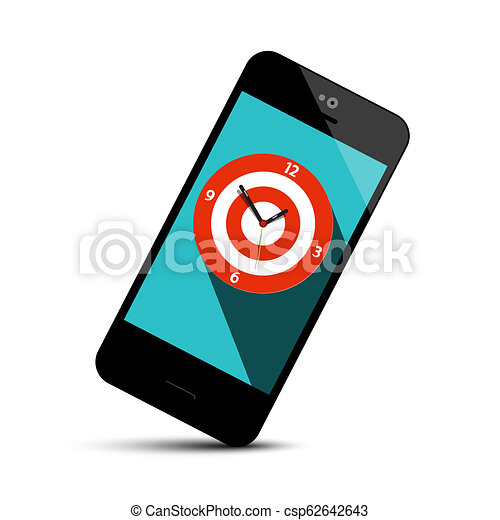 Mobile Phone Icon with Analog Clock Symbol on Screen - Vector - csp62642643