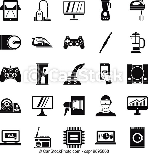 Mobile phone icons set, simple style - csp49895868