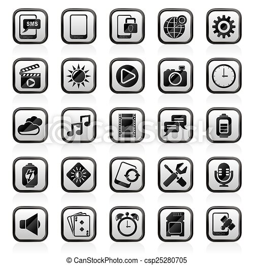 Mobile Phone Interface icons - csp25280705