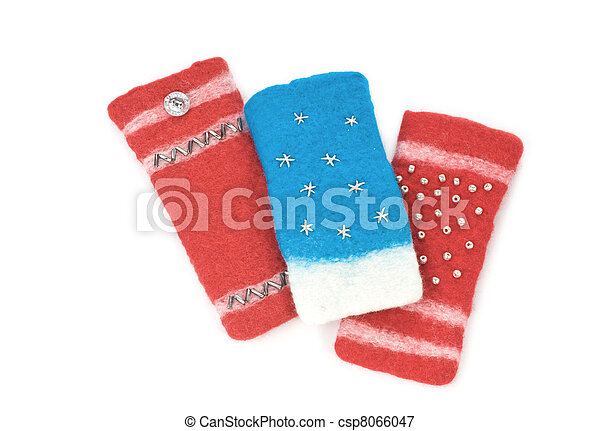 Mobile phone isolated cases on a white background - csp8066047