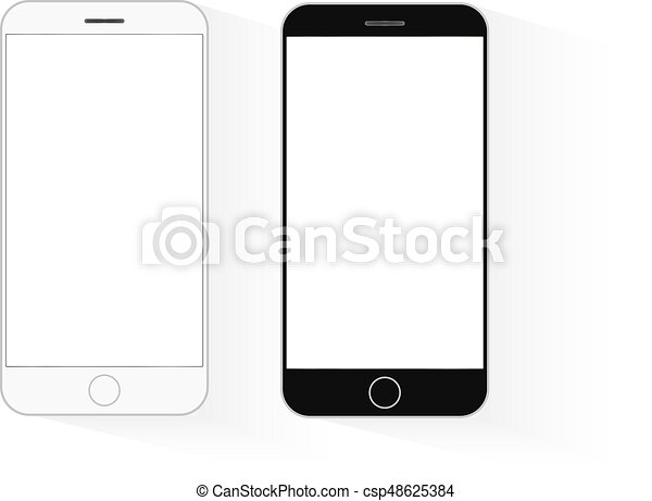Mobile phone mockup black and white telephone template... vector ...
