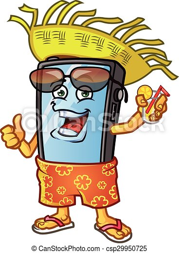 Mobile Phone Vacation Mascot Vector Illustration Of Funny Mobile Phone Cartoon Mascot Dressing In Bahama Short Sun Glasses