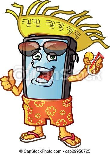 Mobile Phone Vacation Mascot Vector Illustration Of Funny Mobile Phone Cartoon Mascot Dressing In Bahama Short Sun Glasses