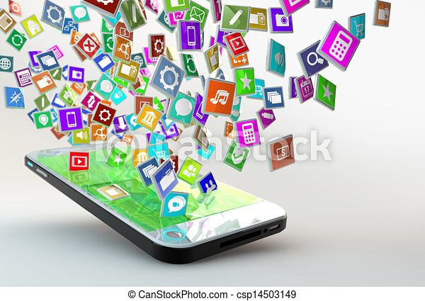 Mobile Phone with cloud of application icons - csp14503149