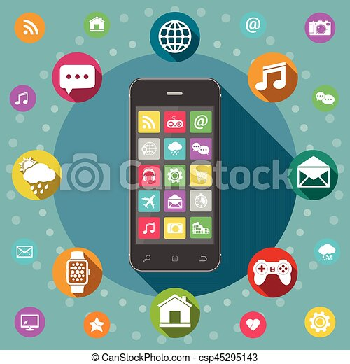Mobile phone with icons, flat design concept - csp45295143