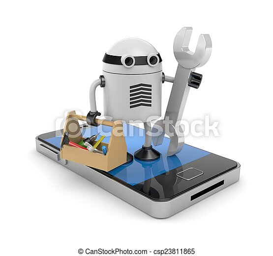 Mobile phone with robot - csp23811865