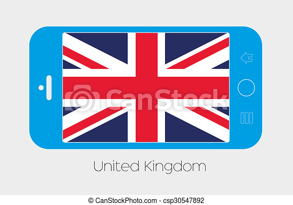 Mobile Phone with the Flag of United Kingdom - csp30547892